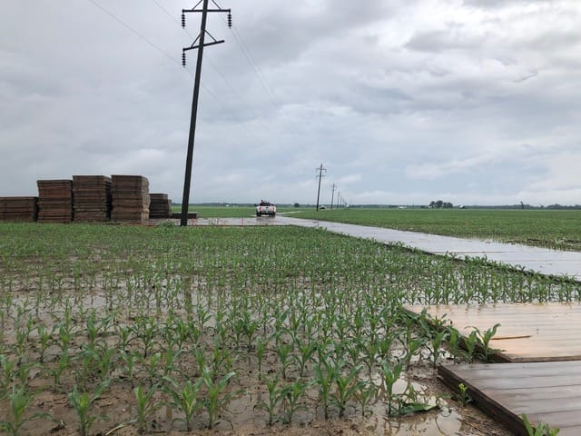 a site access road for ground protection causes little disruption to a crop